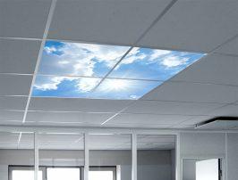 Creëer een unieke omgeving metfotoplafond panelen voor een beleving van 'buiten zijn' en 'vrijheid'. Led panelen als plafonddecoratie met fotoprint.