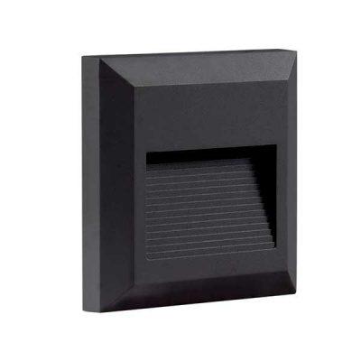 Led Buitenlamp vierkant zwart 3000K 2W
