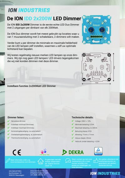LED Dimmer Duo 2x200W (IDD 2x200W) Factsheet