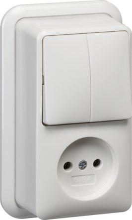 047511 GIRA combinatie serieschakelaar/wandcontactdoos zonder randaarde verticaal met montageplaat en adapter K/P25
