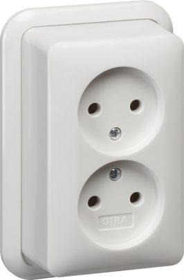 079111 GIRA dubbele wandcontactdoos zonder randaarde 16 A 250 V met montageplaat en adapter K/P25