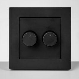 ION duo dimmer afdekplaat mat zwart