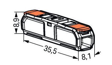 Doorvoerconnector Hevelklem 2-voudig Wago 60st