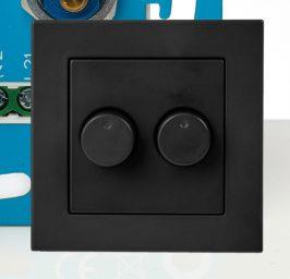 Duo LED Dimmer afdekraam mat antraciet